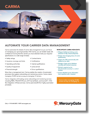 Carrier Management Solutions For TMS Through MercuryGate Carma Brochure